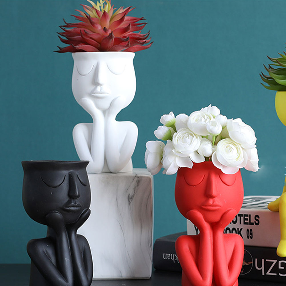 Nordic Minimalist Ceramic Abstract Vase Black Yellow Human Face Creative Display Room Decorative Figue Head Shape Vase