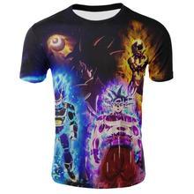 T-Shirt estival Dragon Ball, impression 3d pour homme, Super Saiyan Goku, Harajuku, à la mode, hauts à manches courtes