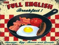 metal vintage shabby chic tin sign full english breakfast plaque