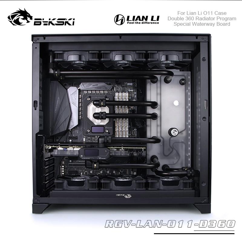 Bykski Distro Plate Program Kit для Lian Li O11 чехол водная доска с двойным радиатором 360 Cpu / Gpu блок водяного охлаждения комплект