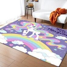 Tapis imprimé en 3D licorne pour enfants   Tapis de jeu en flanelle souple, mousse à mémoire de forme, tapis de chambre pour fille, tapis et tapis pour salon