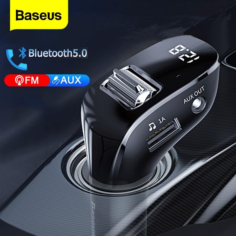 Фото - Baseus Car FM Transmitter Bluetooth 5.0 AUX Handsfree Wireless Car Kit Dual USB Car Charger Auto Radio FM Modulator MP3 Player fm трансмиттер baseus t typed bluetooth mp3 charger with car holder dark coffee ccall tm12