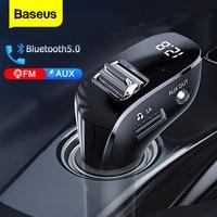 Автомобильный FM-трансмиттер Baseus, Bluetooth 5,0, AUX, комплект громкой связи, автомобильное зарядное устройство с двумя USB-портами, FM-модулятор, mp3-пле...