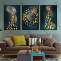 poster colorful fishes circling landscape canvas painting and prints wall art pictures decoration for living room 3pcs frameless
