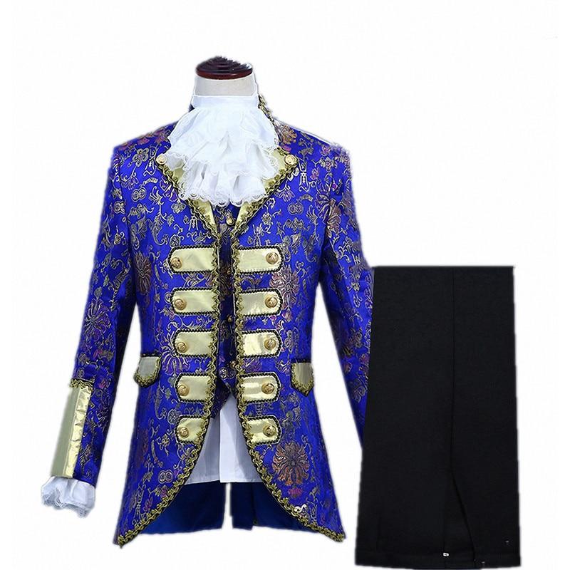 Vestido de nobleza dorado para hombre, traje de Cosplay de Príncipe renacentista de Halloween, trajes de actuación de cantante para baile de graduación
