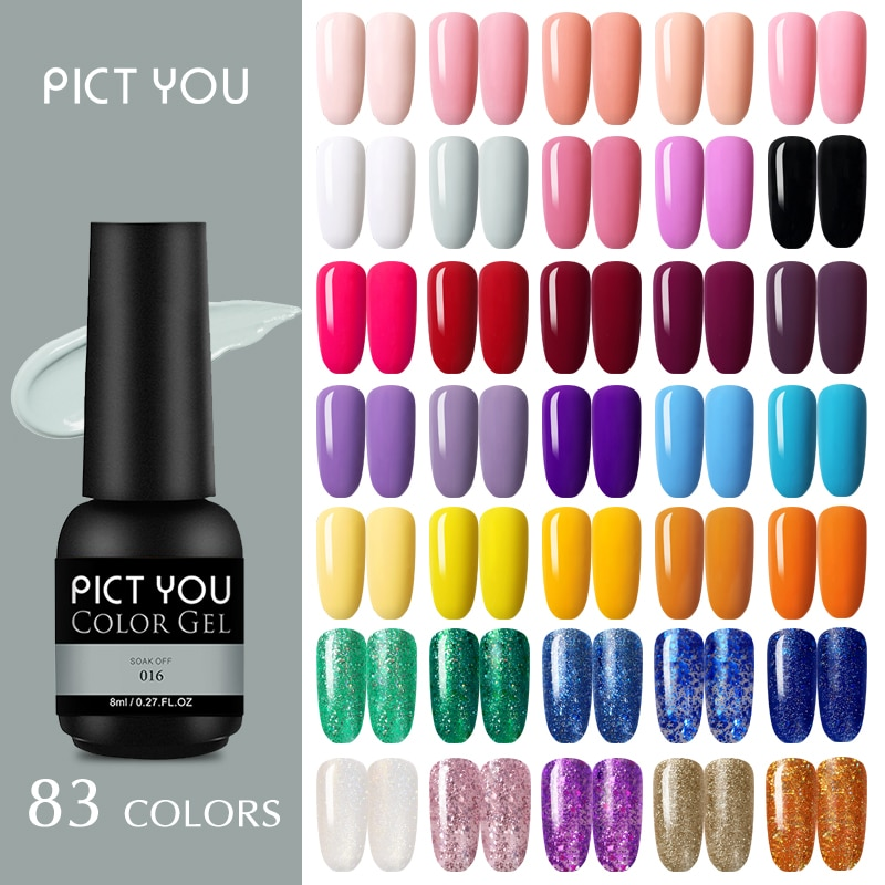 PICT SIE 8ml Nagel Gel Polnisch Rosa Nude Farbe Lacke Glitter Pailletten Weg Tränken Semi Permanant Organische UV LED nagel Gel Lack