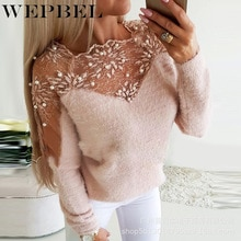 WEPBEL Women Autumn Winter Lace Patchwork Warm Pullover Sweater Top Casual Ladies Elegant Long Sleev