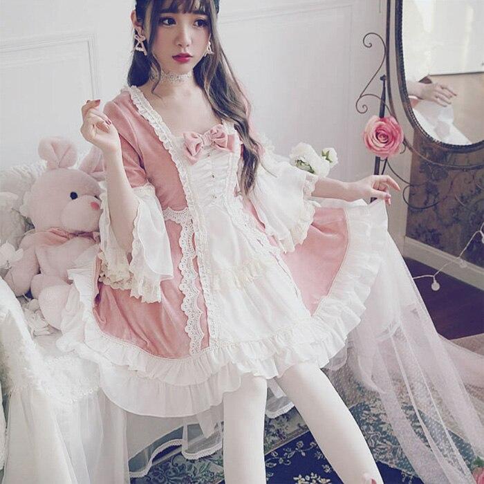 Palacio princesa diario dulce lolita vestido vintage encaje bowknot flare manga vestido victoriano kawaii chica gótico lolita op loli cos