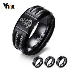 Vnox masculino leme anel personalize legal preto aço inoxidável wia masculino jóias dropshipping único presente masculino