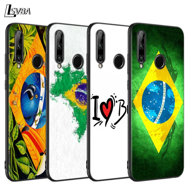 Funda negra, carcasa trasera con bandera brasileña para Huawei P Smart Z Plus 2019 P40 P30 P20 Pro P10 P9 P8 Lite, funda blanda para teléfono