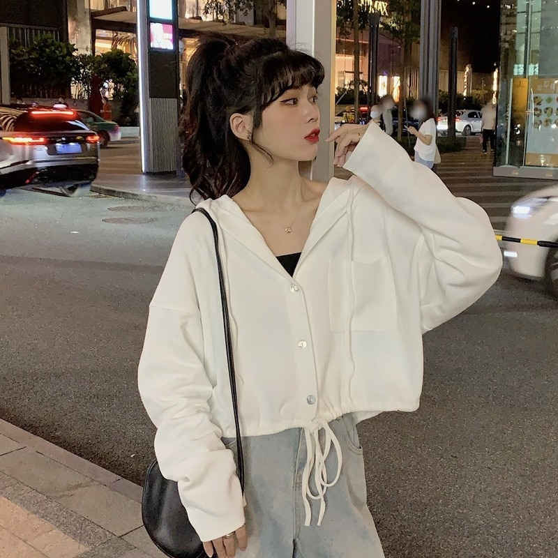 Drawstring Lace Hooded Cardigan Sweater Women's Small Spring and Autumn Thin Loose Korean Style Lazy