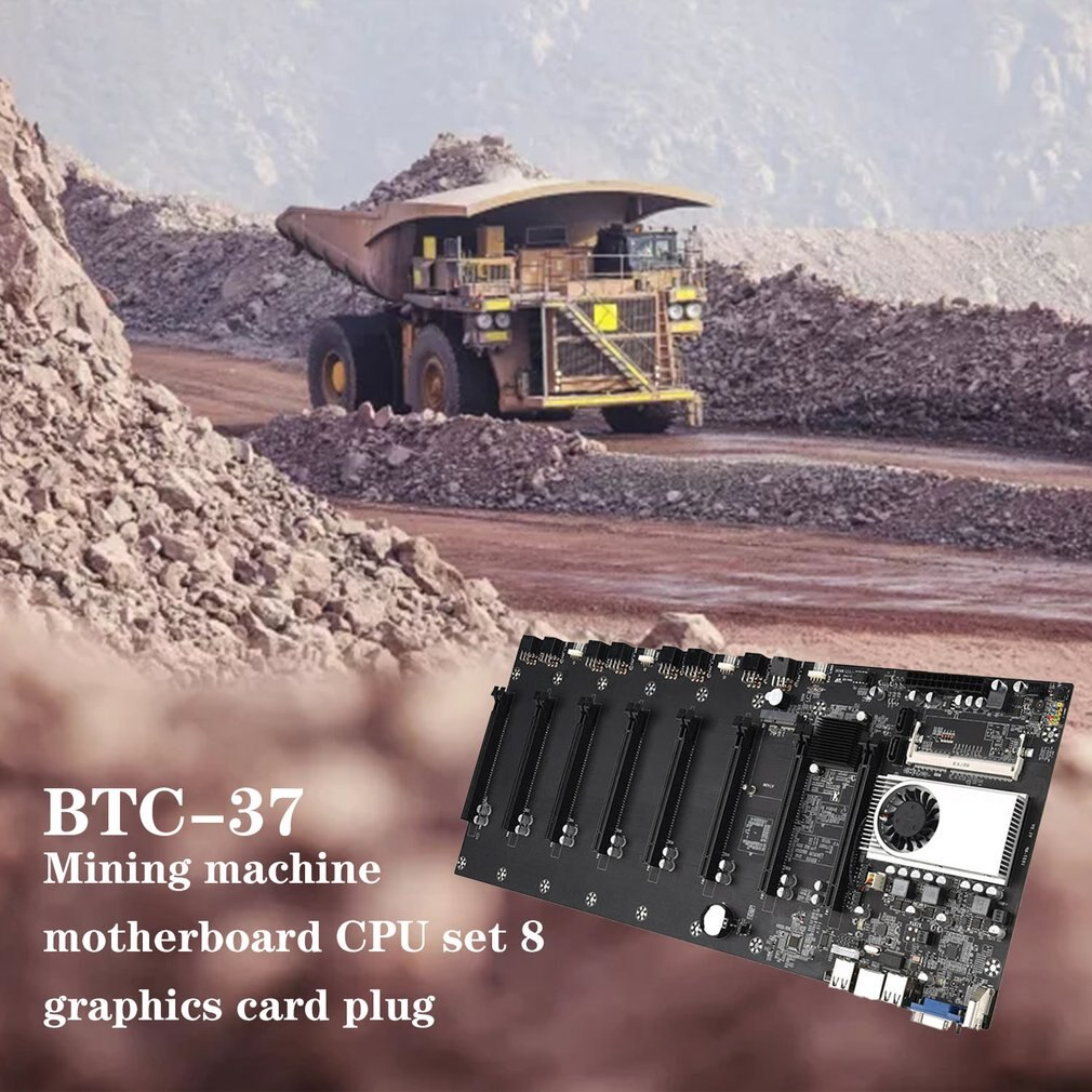 BTC-37 Miner Motherboard CPU Set 8 Video Card Slot DDR3 Memory Integrated VGA Interface Low Power Consumption