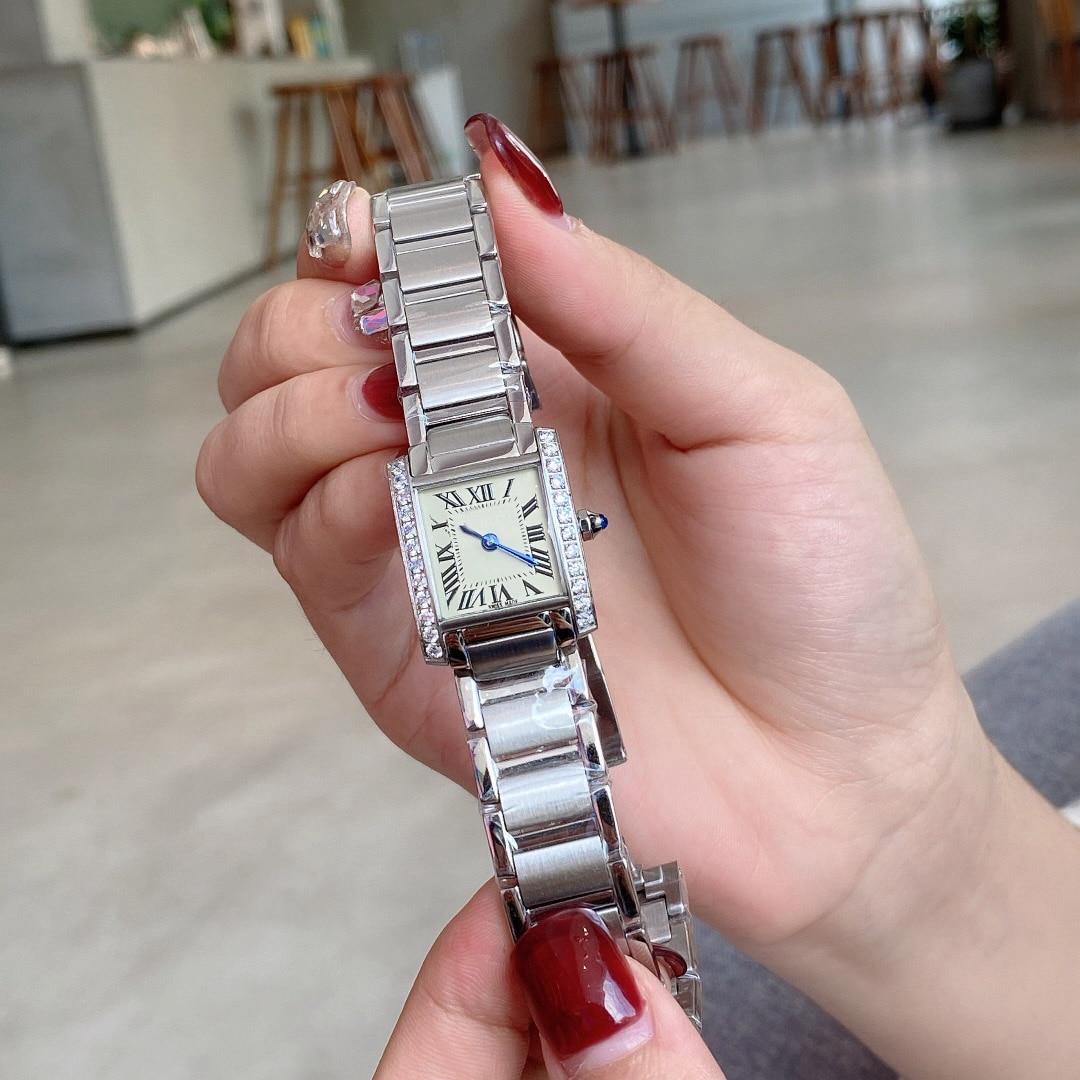 Brand luxury ladies quartz watch, size 25X20 rectangular tank series, steel band, fashion watch, formal watch, enlarge