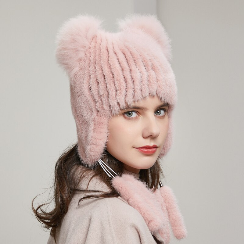 Ladies Winter New Fur Hats Real Mink Fur Caps Plush Ball Knitted Woolen Hat Ear Protection Warm 2020 New Fur Hats 20HY-15