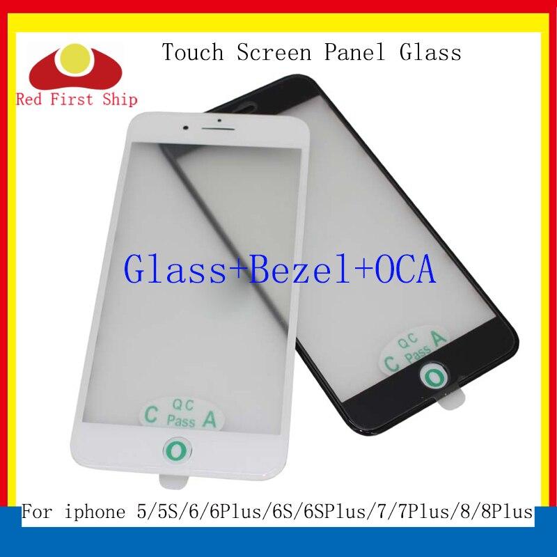 10 unids/lote 8 7 para iphone 6 Plus Panel de pantalla táctil cristal exterior frontal con marco de bisel OCA para iphone 5 y 5s 6S 8 vidrio LCD 3 en 1