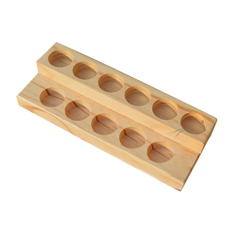 11 Holes Wooden Essential Oil Tray Handmade Natural Wood Display Rack Demonstration Station For 5-15Ml Bottles
