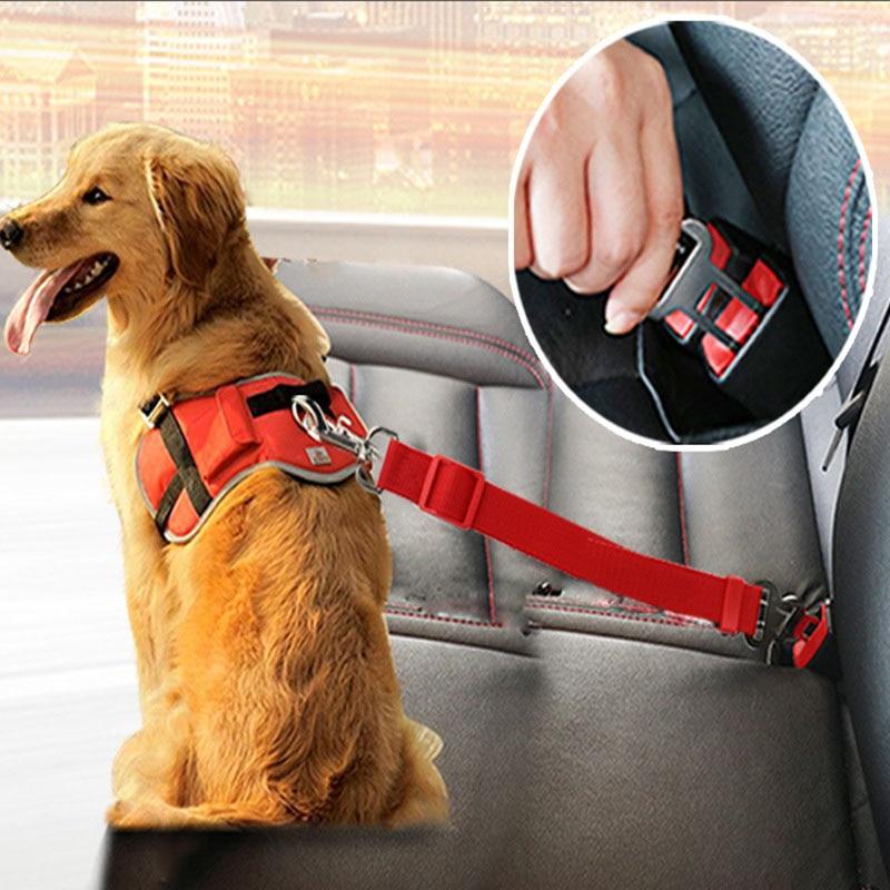 Ajustable para perros y gatos cinturón de seguridad de coche del asiento del animal doméstico vehículo arnés de cinturón de seguridad perro plomo Clip, suministros para mascotas, palanca de seguridad tracción Collar