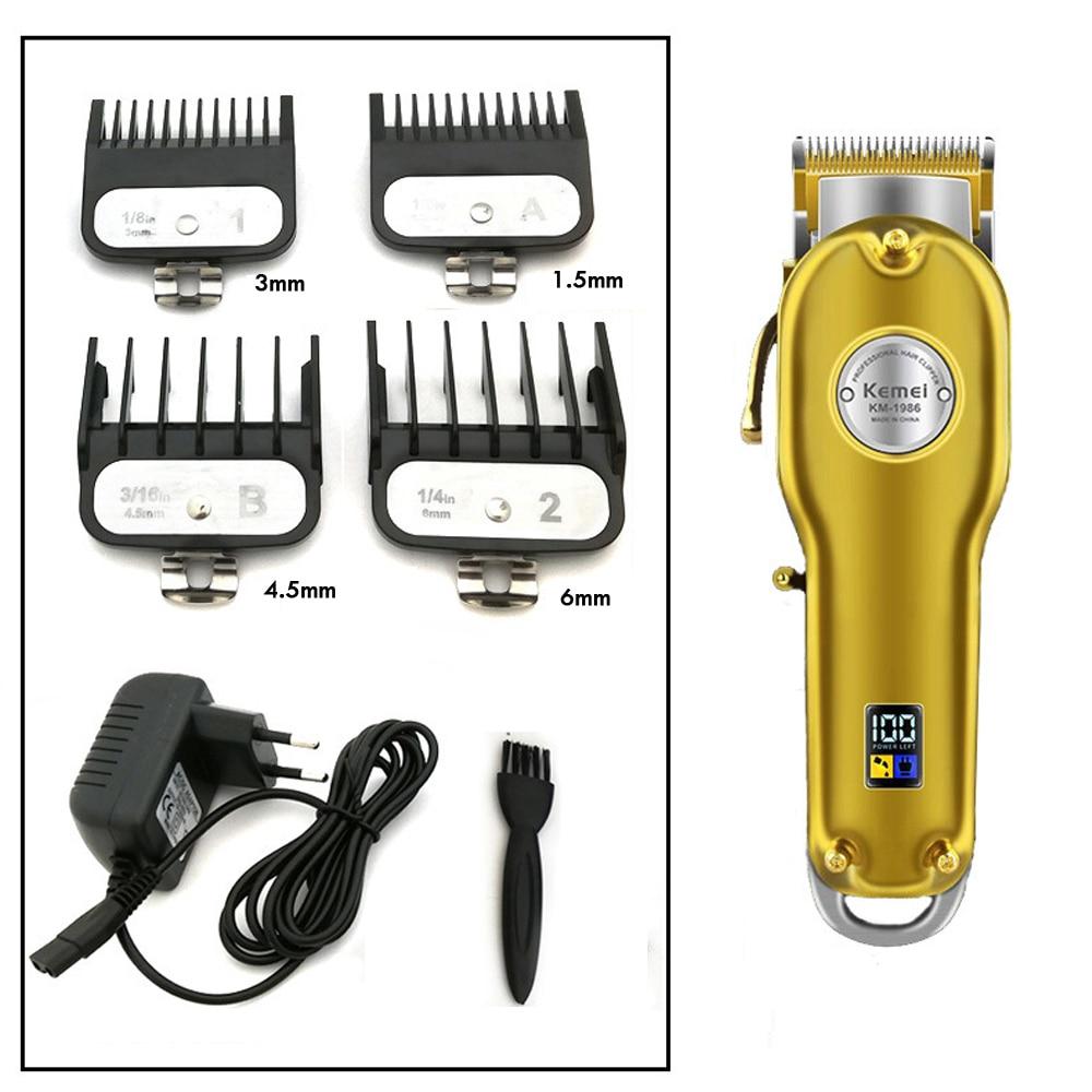 Kemei 1986 Professional Electric All Metal Hair Clipper Powerful Cordless Hair Trimmer Men Silver Gold Haircut Machine Barber enlarge