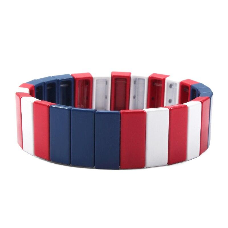 Радужные браслеты с эмалью, черепицей, Тила, ручная работа, квадратные стекируемые растягивающиеся браслеты с плиткой, браслет на День свят...