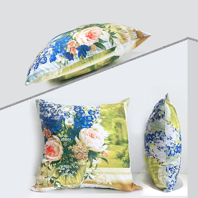 Картина маслом сад двусторонний чехол для подушки из полиэстера диван украшение американский кантри цветочный узор домашний пледы наволоч...