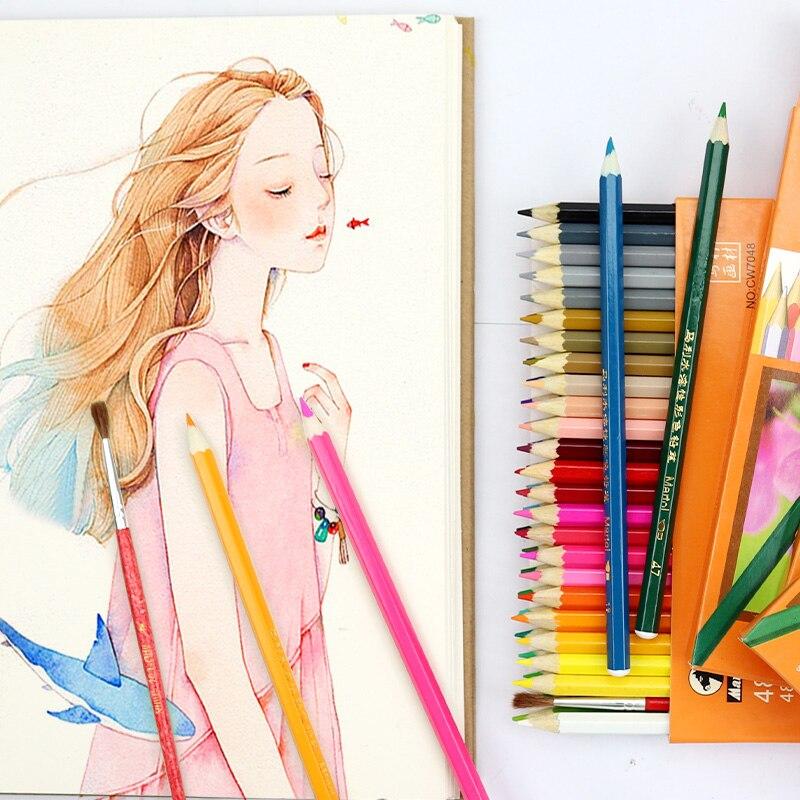 Lápis de cor oleosa de marie/aquarela lápis conjunto 12/18/24/36/48 cores pintura a óleo desenho escrever cor chumbo lápis lapis de cor