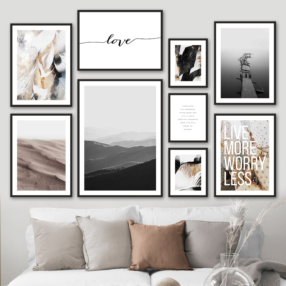 AliExpress - Mountain Desert Sea Bridge Love Quote Wall Art Canvas Painting Nordic Posters And Prints Wall Pictures For Living Room Decor