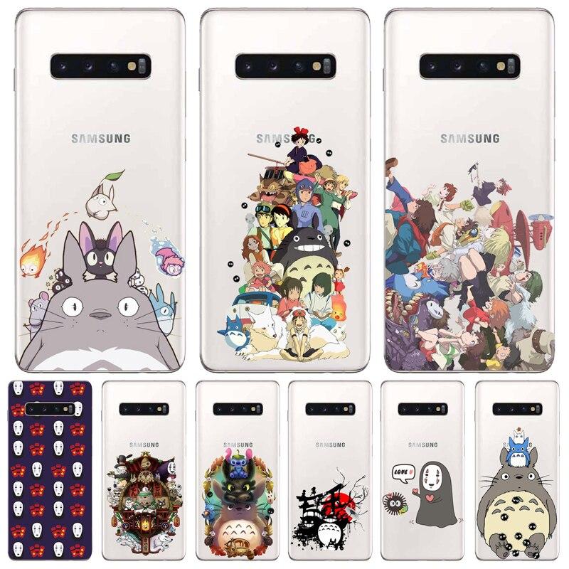 Bonita funda de móvil Totoro spiritted Away Ghibli Miyazaki de Anime sin cara, funda transparente suave para Samsung Glaxy S6 7 8 9 10 Note 8 9 10 Pro