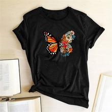 T-shirt col rond femme imprimé de fleurs, vêtement estival en Vogue