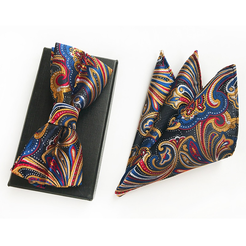 Fashion Tie Set Bow Ties for Men Pocket Square  100% Silk Jacquard Woven Wedding Bowtie Handkerchief Butterfly Towel недорого