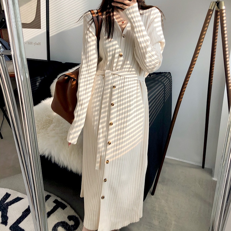 spring and autumn v neck single breasted knit dress multicolor temperament striped sweater dress long sleeve woman sweaters Spring and Autumn V-neck Single-breasted Knit Dress Multicolor Temperament Striped Sweater Dress Long Sleeve  Woman Sweaters