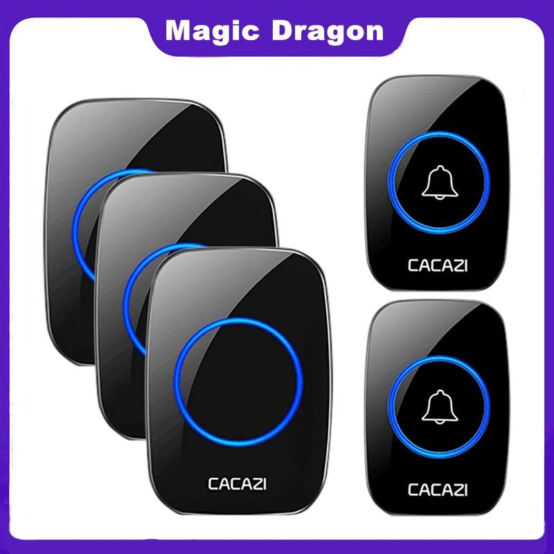 CACAZI Wireless Waterproof Doorbell 300m Range US EU UK AU Plug Home Intelligent Door Bell Chime 1 2