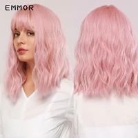 emmor pink bob wigs for women short natural wave hair synthetic wigs with neat bangs cute cosplay wigs heat resist hair wig
