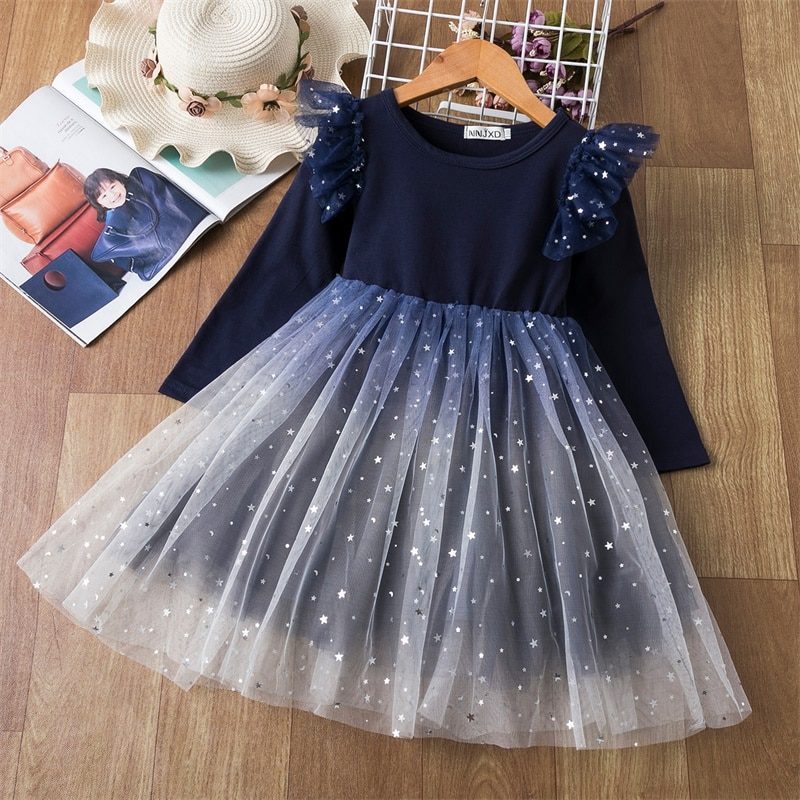 Meninas vestido de inverno para crianças manga longa algodão lantejoulas rendas vestido de princesa 3-8 anos crianças festa de aniversário de casamento vestidos