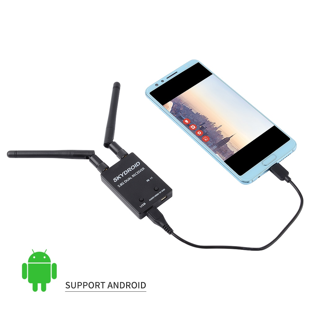Skydroid UVC antena Dual Receptor de control OTG 5,8G 150CH canal completo FPV receptor W/Audio para Android Smartphone