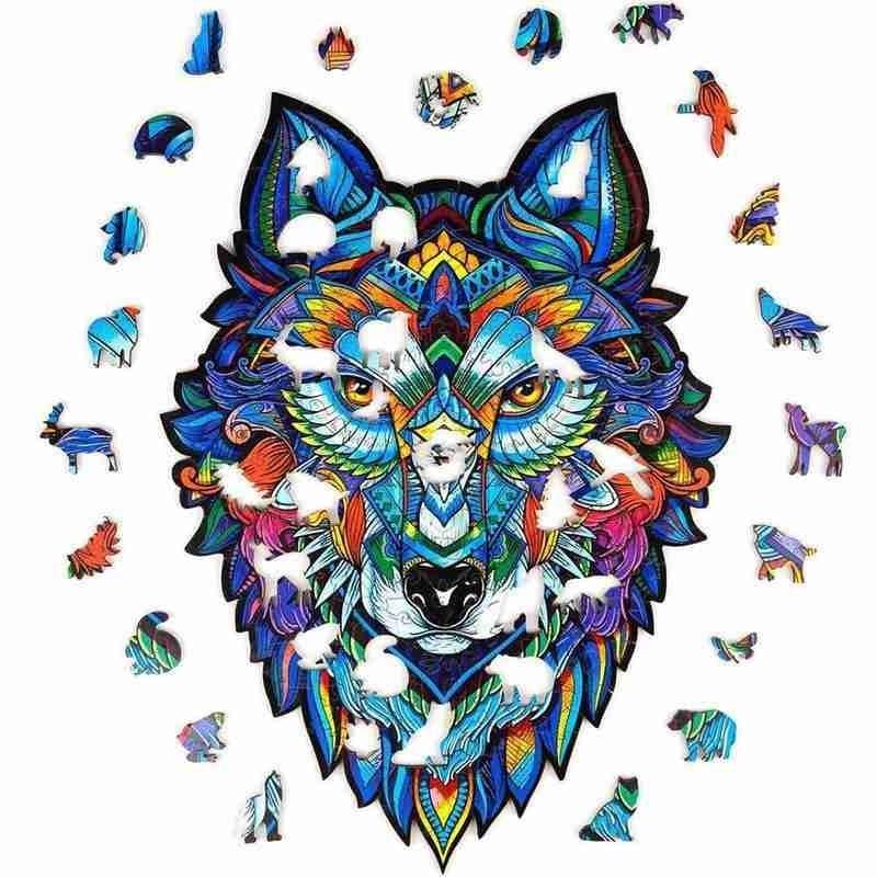 الذئب شكل لتقوم بها بنفسك خشبية لغز للكبار الأطفال الاثاث الخشبية الحيوان أفضل هدية الكريسماس بازل قطع خشبية للأطفال