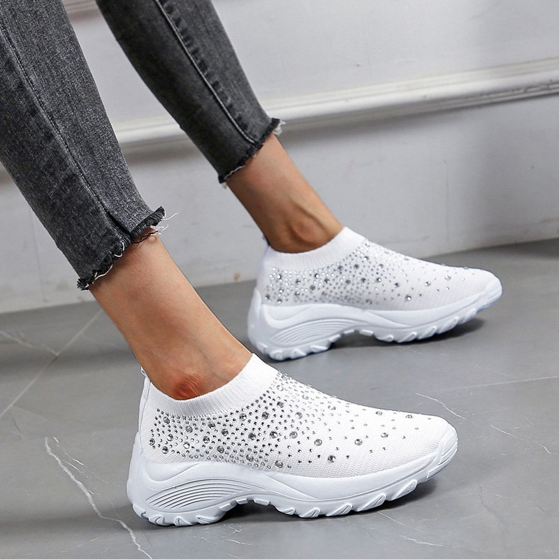 2020 Women Sneakers Casual Vulcanized Shoes SummerAutumn Slip-On Sock Crystal Ladies Trainers Platform