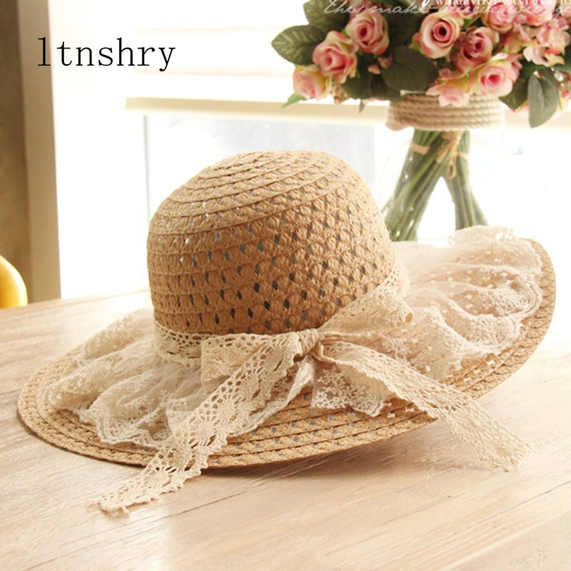 Women Lace Sun Hats For  Wide Brim Straw Beach Side Cap Floppy Female Hat Solid Fringe Summer Chapeu