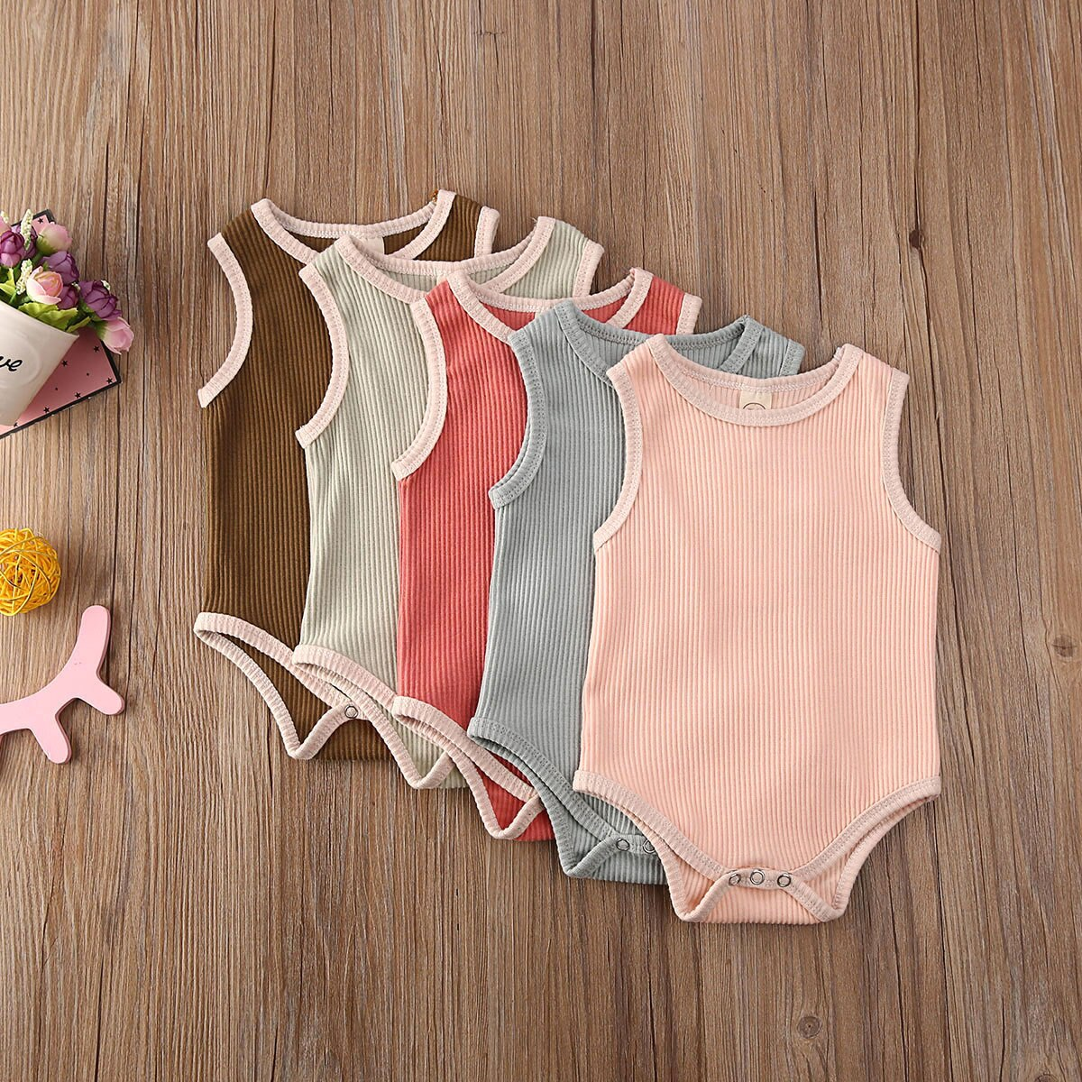 fashion 3pcs baby girl clothes cotton o neck sleeveless romper shorts clothing set for 6 24m new bron baby girl summer set Newest Baby Summer Clothing 0-24M Newborn Infant Toddler Baby Girl Sleeveless Solid Romper Jumpsuit Cotton Blend Outfit Clothing