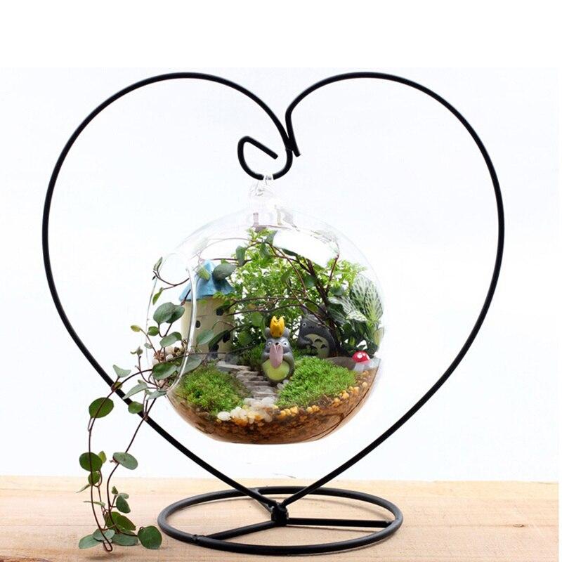 Микро пейзаж кронштейн рамки железа вешалка крюк украшения дома DIY Луна Любовь Форма прочный экологический бутылка