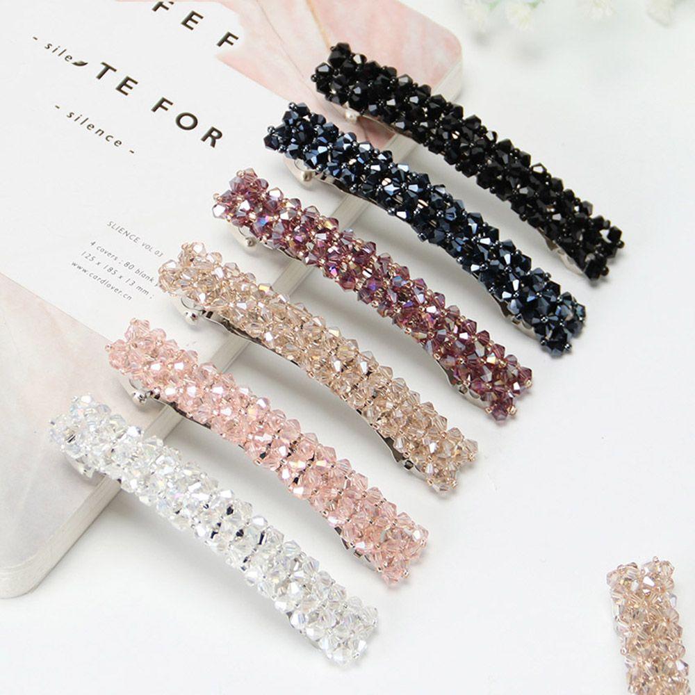 Horquilla elástica de moda para la cabeza, horquilla de adorno de cristal con diamantes de imitación para mujer