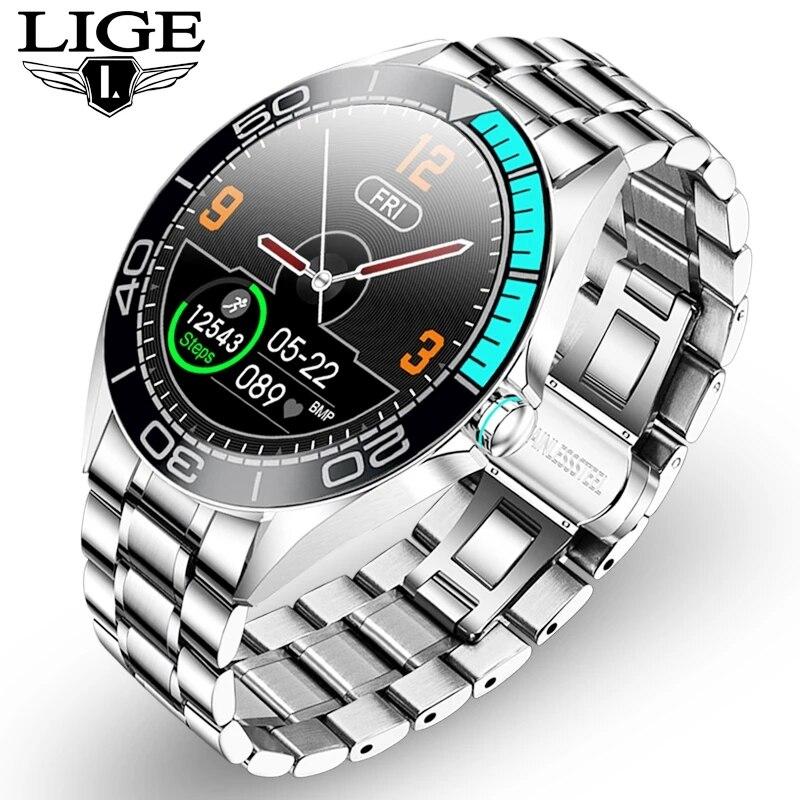 LIGE الفاخرة ساعة ذكية الرجال مقاوم للماء الرياضة اللياقة البدنية ساعة ل أندرويد ios الهاتف مراقب معدل ضربات القلب smartwatch رجالي الساعات