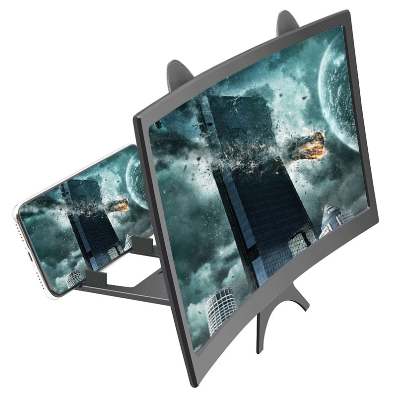 AMPLIFICADOR DE PANTALLA 3D para teléfono de 12 pulgadas, lupa de vídeo HD para ver películas en 3D y teléfono inteligente