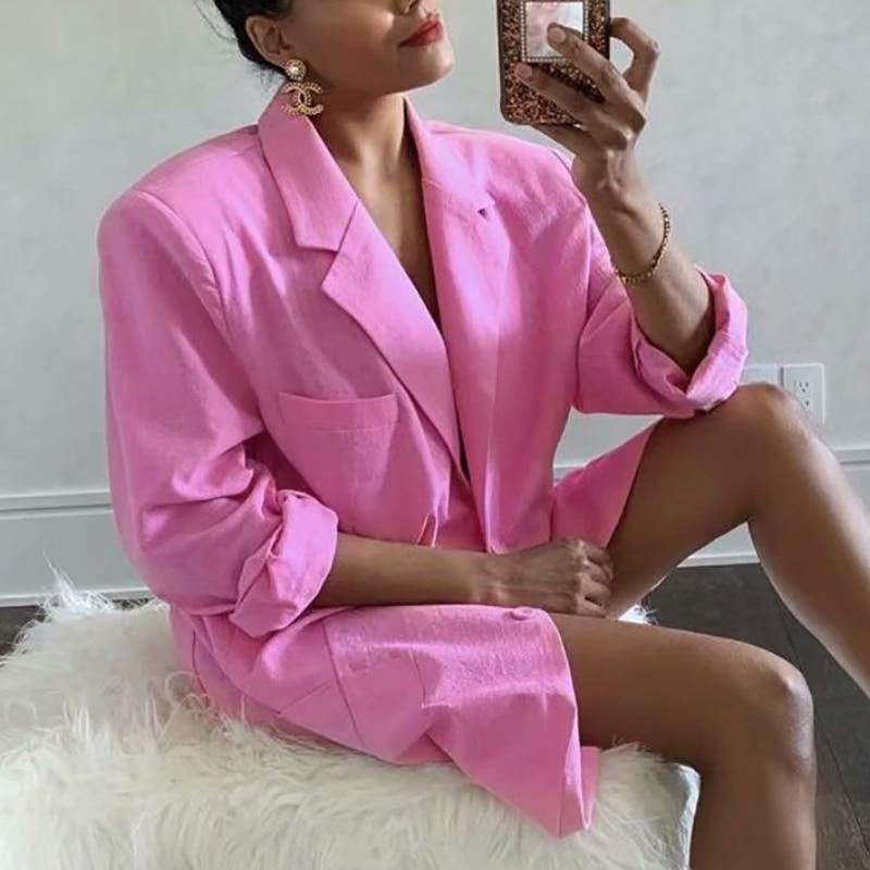 Блейзер ZXQJ Женский, крутой Розовый Модный пикантный тонкий Хлопковый жакет, элегантный шикарный костюм, повседневный милый топ для девочек, лето 2021 | Женская одежда | АлиЭкспресс