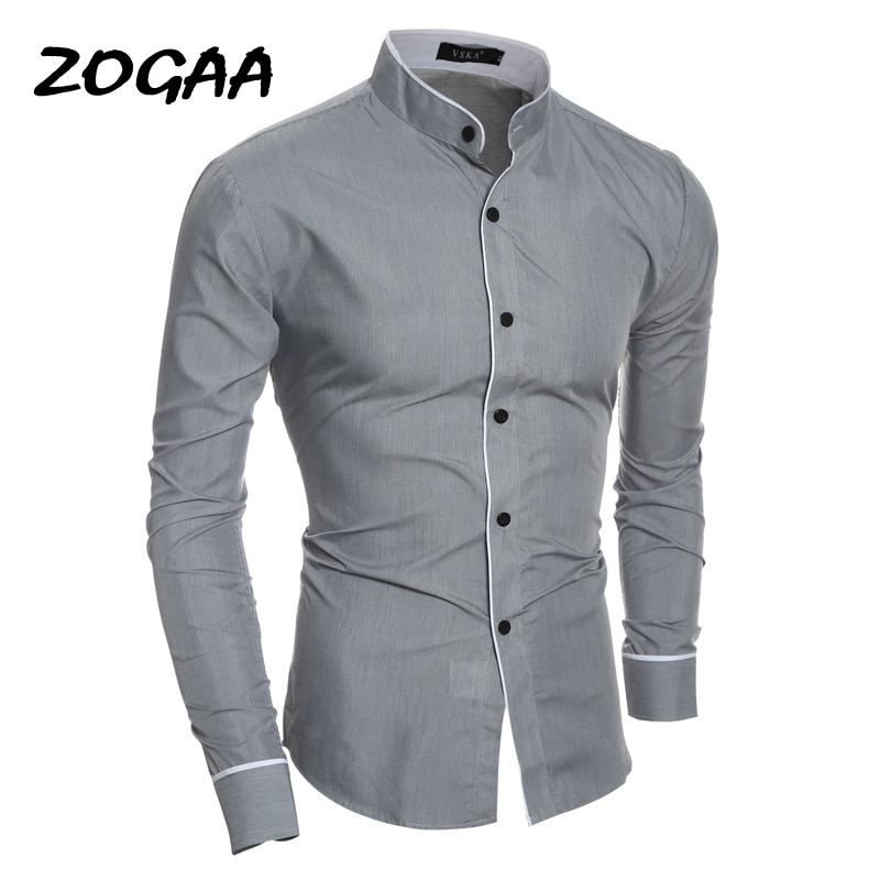 ZOGAA 2020 Spring Summer Casual Shirt Men High Quality Mens Dress Shirts Solid Slim Fit Short Sleeve