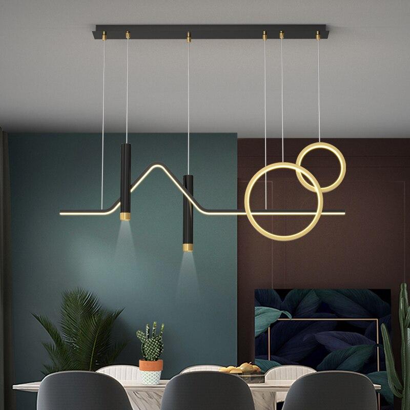 الحديثة LED أضواء الثريا غرفة الطعام بسيط المطبخ جزيرة بار مقهى تركيبات إضاءة الشمال الإبداعية الأسود قلادة طويلة مصباح