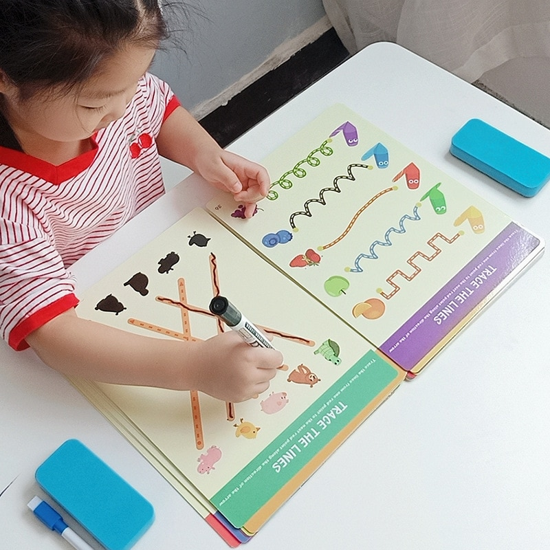 Montessori Drawing Board DIY Color Shape Game Game Book Painting Set Learning Children's Puzzle Early Education Stationery Gift