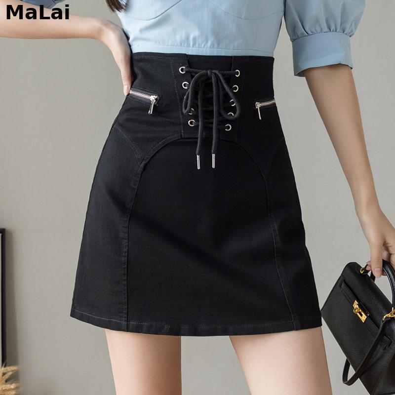 Female Skirt High Waist Zipper Bandage Patchwork Short Jean Skirt For Women Summer Elegant Mini A-Line Korean Style Cotton Denim 2020 new korean style elegant split embroidered a line denim midi skirt korean harajuku skirt jean skirt denim skirt