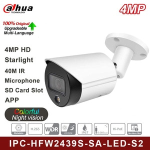 Original English Version For Dahua HFW2439S-SA-LED-S2 4MP Built-in Mic IP Camera 24 Hours Full-color IP67 WDR Bullet Camera
