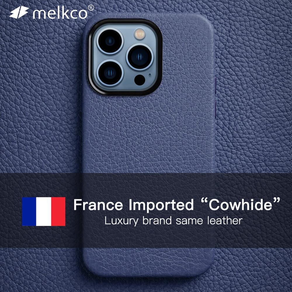 Melkco فرنسا قسط جلد طبيعي حافظة للآيفون 13 برو ماكس العلامة التجارية الفاخرة الصغيرة نفس جلد البقر الأعمال موضة غطاء الهاتف