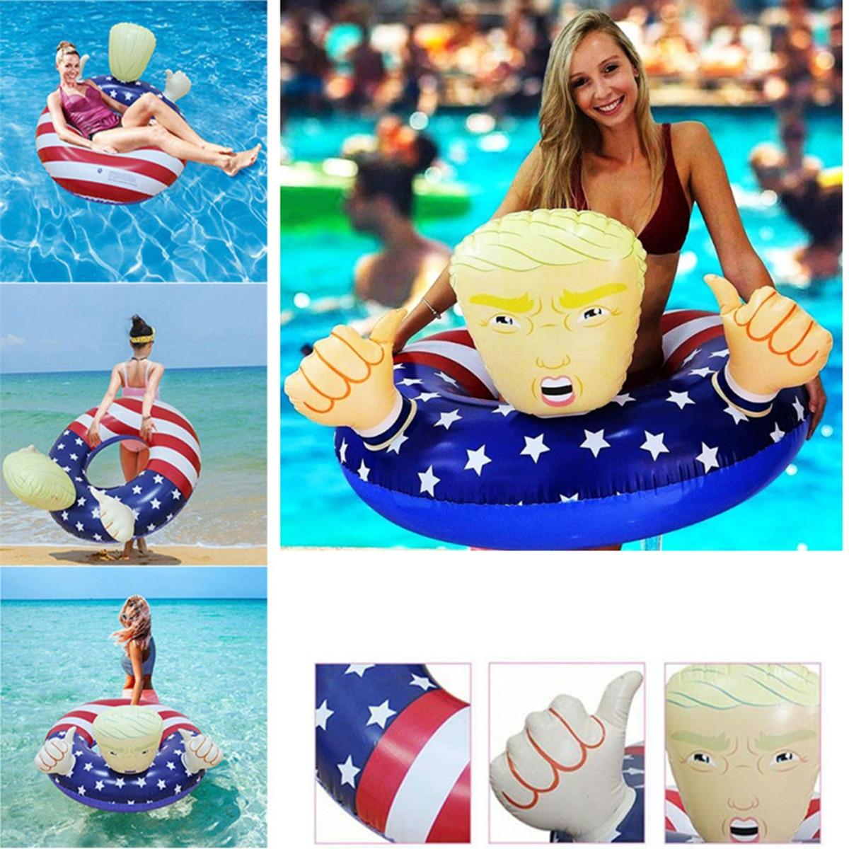 Flotador de piscina, nuevo y creativo flotador de piscina, bandera estadounidense Donald Trump, flotadores inflables de piscina para adultos